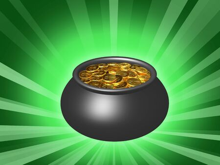 Pot with gold on a green background. Stock Photo - 3543337