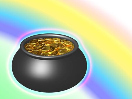 Pot with gold on a background a rainbow. Stock Photo - 3543330