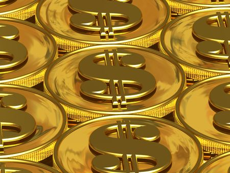 dollar signs: Golden dollar coins