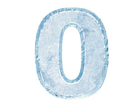 Fuente de hielo. Trazado de recorte de número zero.With.  Foto de archivo - 5582430