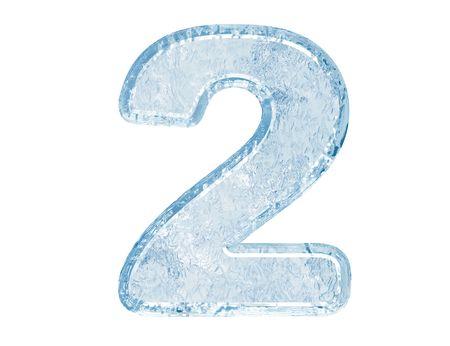 Fuente de hielo. Trazado de recorte de número two.With.  Foto de archivo - 5582429
