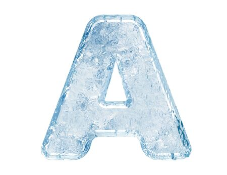 Ice font. Letter A.Upper case.With clipping path. Archivio Fotografico