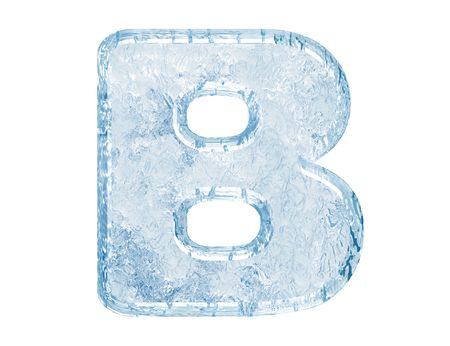 Ice font. Letter B.Upper case.With clipping path.