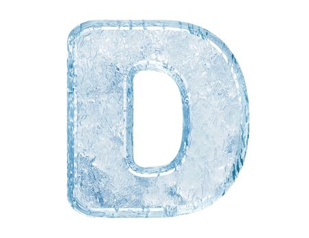 Ice font. Letter D.Upper case.With clipping path. Stock Photo
