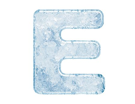 freeze: Ice font. Letter E.Upper case.With clipping path.