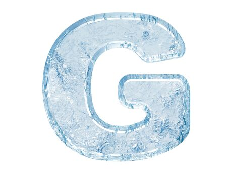 Ice font. Letter G.Upper case.With clipping path.