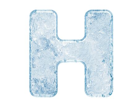 Ice font. Letter H.Upper case.With clipping path. Archivio Fotografico