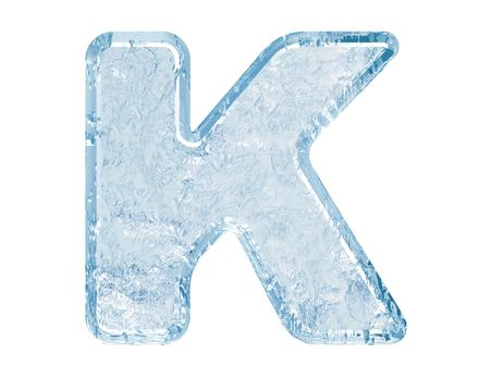 letterpress letters: Ice font. Letter K.Upper case.With clipping path. Stock Photo