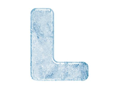 ice alphabet: Ice font. Letter L.Upper case.With clipping path.