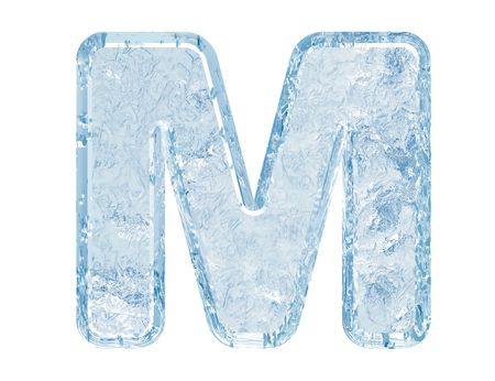 Ice font. Letter M.Upper case.With clipping path.