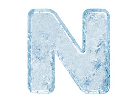 Ice font. Letter N.Upper case.With clipping path.