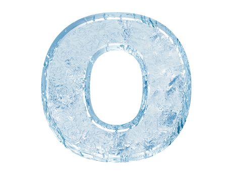 Ice font. Letter O.Upper case.With clipping path.