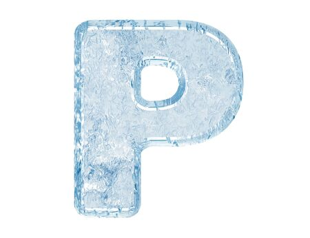 letterpress letters: Ice font. Letter P.Upper case.With clipping path.