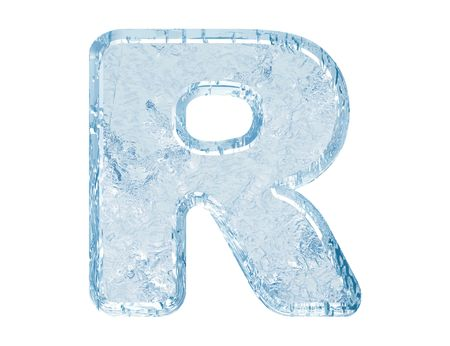 letterpress letters: Ice font. Letter R.Upper case.With clipping path. Stock Photo
