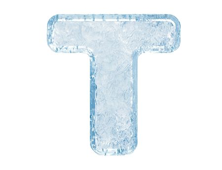 Ice font. Letter T.Upper case.With clipping path. Stock Photo