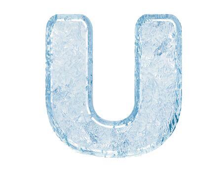 Ice font. Letter U.Upper case.With clipping path. Archivio Fotografico