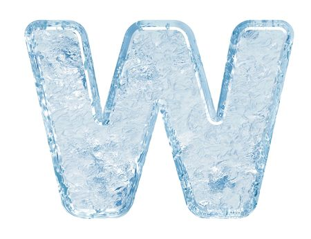 Ice font. Letter W.Upper case.With clipping path.