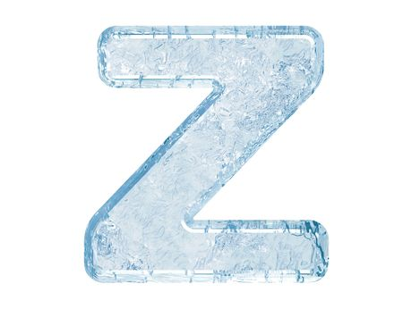 ice alphabet: Ice font. Letter Z.Upper case.With clipping path. Stock Photo