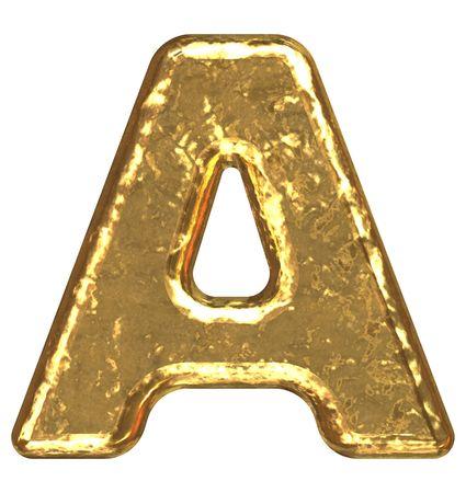Golden font. Letter A.