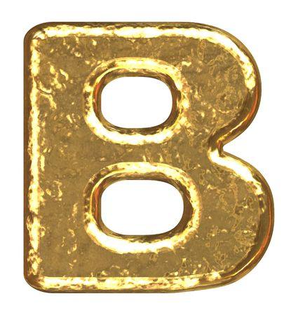 letras doradas: Fuente de oro. Letra B. Foto de archivo