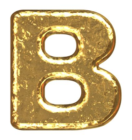 Golden font. Letter B. photo