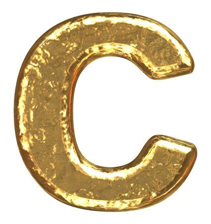 Golden font. Letter C. Stock Photo