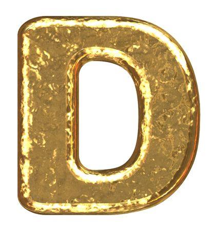 Golden font. Letter D.