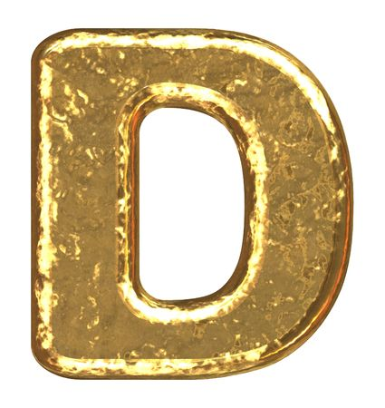 Golden font. Letter D. photo