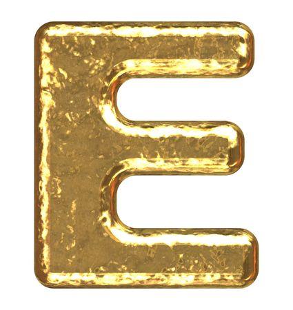 letras doradas: Fuente de oro. Letra e.