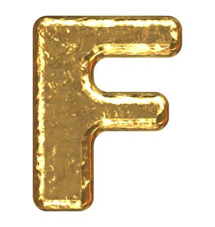 Golden font. Letter F.