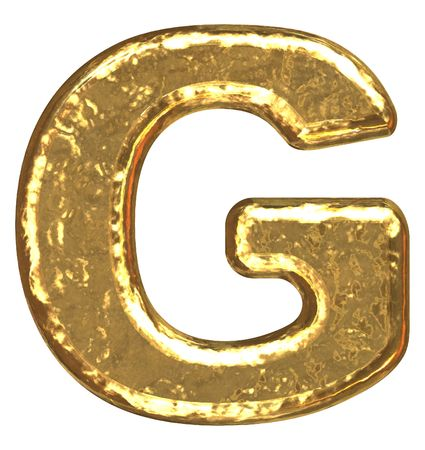 Golden font. Letter G. photo