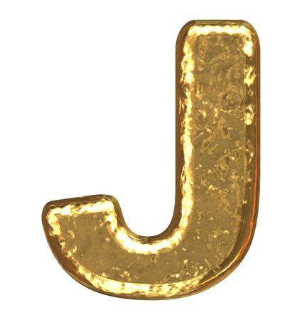j: Golden font. Letter J.