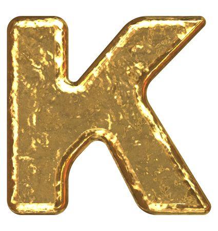 Golden font. Letter K.
