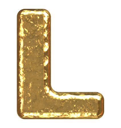 Golden font. Letter L.