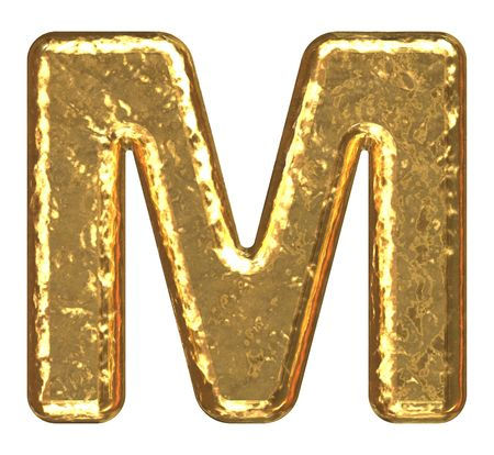 letras cromadas: Fuente de oro. Letra M.