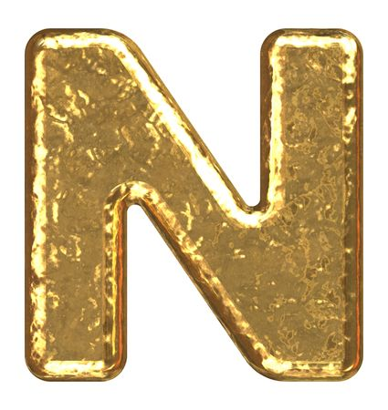 Golden font. Letter N. photo