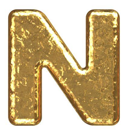 gold ingot: Golden font. Letter N. Stock Photo