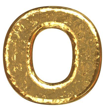 Golden font. Letter O.