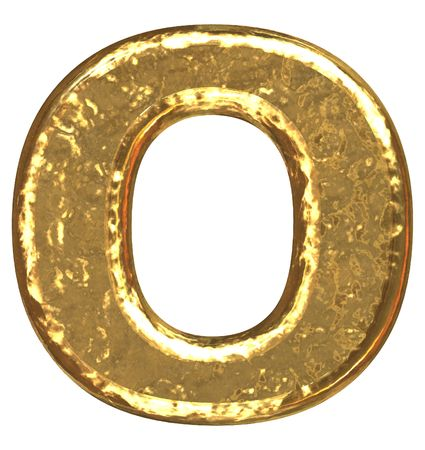Golden font. Letter O. photo