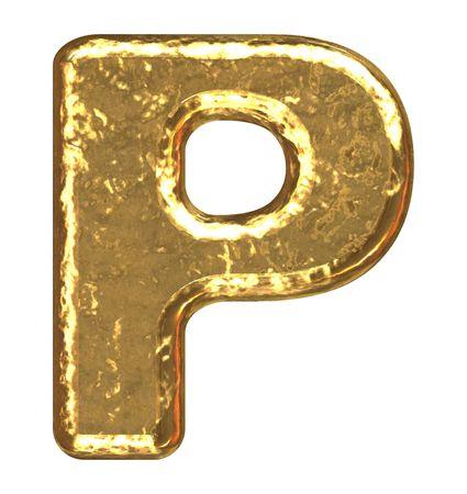 Fuente de oro. Letra p. Foto de archivo - 5648673