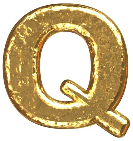Golden font. Letter Q. Stock Photo