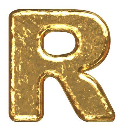 Golden font. Letter R. Stock Photo
