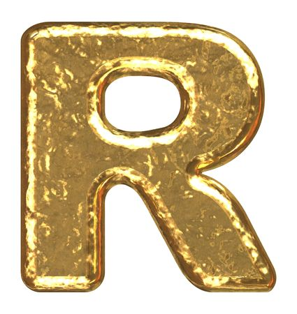 letterpress letters: Golden font. Letter R. Stock Photo