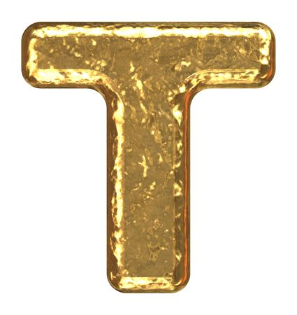 Golden font. Letter T. Stock Photo