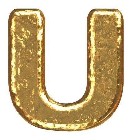 Golden font. Letter U.