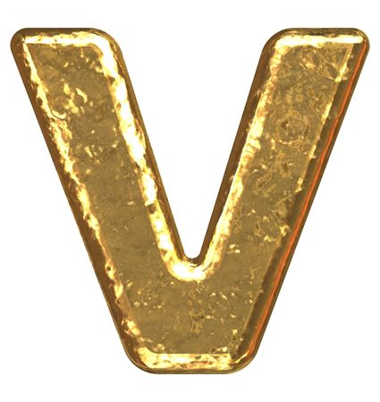 Golden font. Letter V. photo