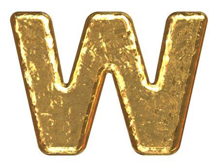Golden font. Letter W. Stock Photo - 5648663