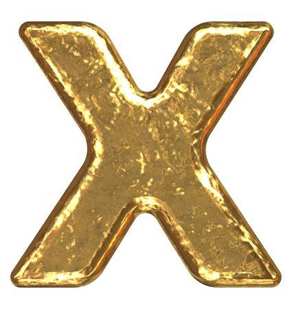 gold ingot: Golden font. Letter X. Stock Photo