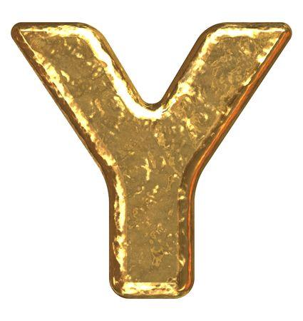 Golden font. Letter Y. Stok Fotoğraf