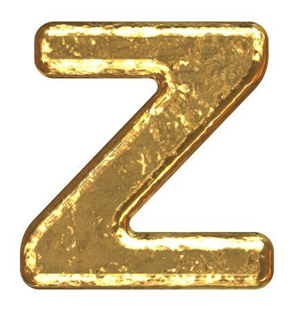 Golden font. Letter Z.
